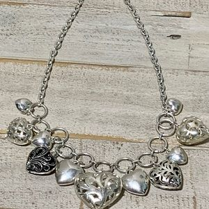 """Heart of Hearts 18"""" Silver Toned Necklace"""